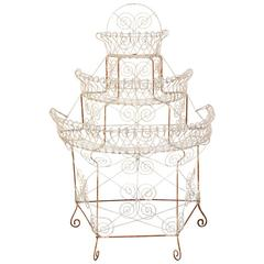 Antique Three-Tier White Painted Wire Plant Stand