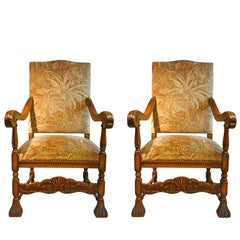 Pair of Early 20th Century English High Back Carved Elm Armchairs