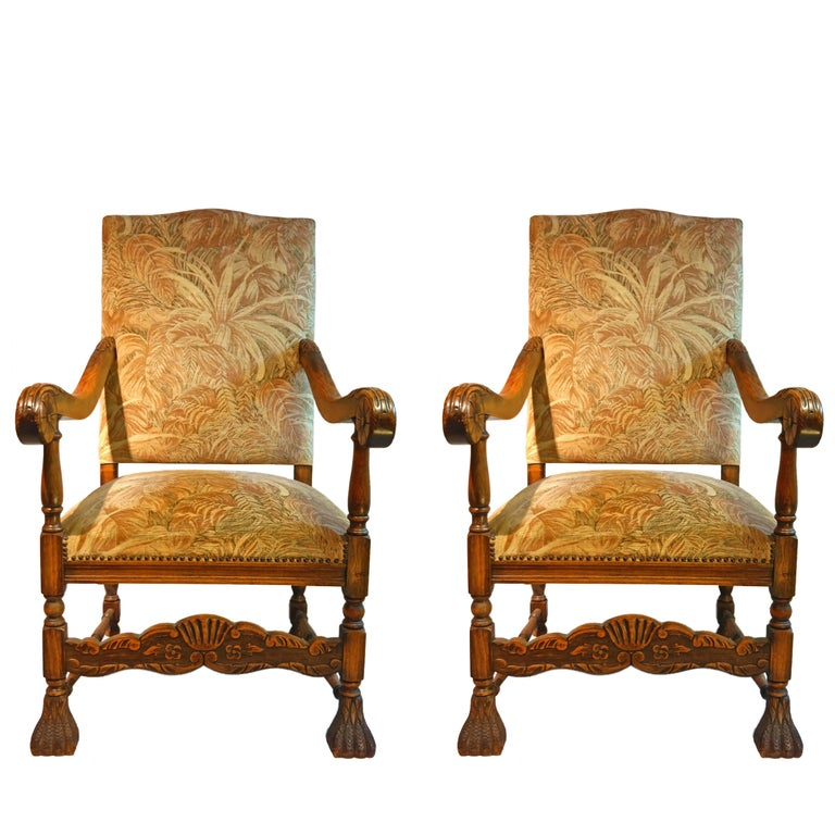 Pair of Early 20th Century English High Back Carved Elm Armchairs For Sale