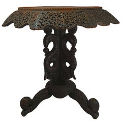 Early 20th Century Anglo-Indian Hand-Carved Rosewood Table