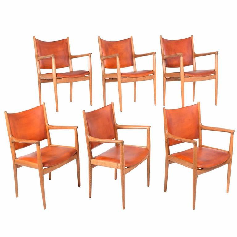 "Set of Six Hans Wegner ""513"" Armchairs for Johannes Hansen 1"