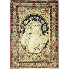 Antique Pictorial Kermanshah Rug