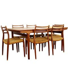 Mid-Century Modern Danish Teak Expandable Dining Table Six Chairs Two Leaves