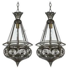 Pair of Moroccan Moorish Clear Glass Pendants