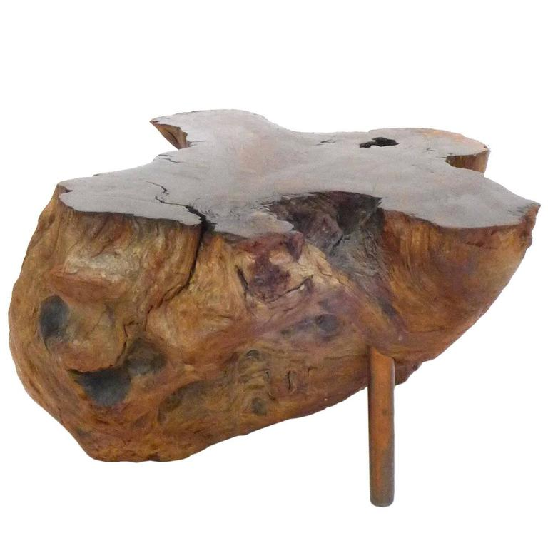 Burl Wood and Copper Side Table For Sale