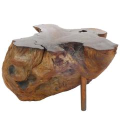 Burl Wood and Copper Side Table