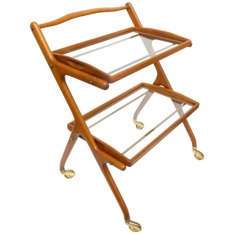 Italian Walnut Bar Cart by Cesare Lacca 1