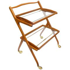 Italian Walnut Bar Cart by Cesare Lacca
