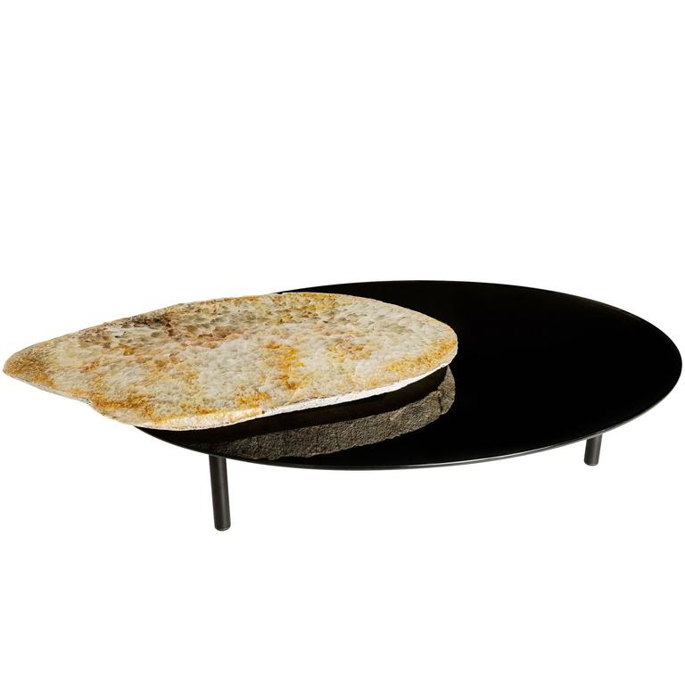 Center Table, Brazilian Agate Rotating Slab on Black Tempered Glass