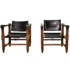 Pair of Mid-Century Brutalist Black Leather Safari Chairs