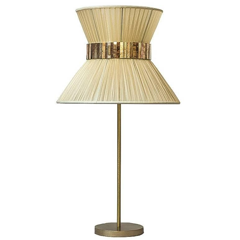 Tiffany contemporary table Lamp 40 ivory Silk Antique Brass,Silvered Glass