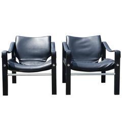 Pair of 1970 Black Safari Chairs by Maurice Burke for Arkana