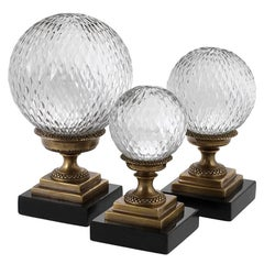 Deco Glass Balls Set of Three in Antique Brass and Clear Glass