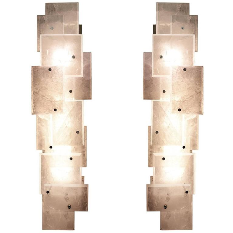 Pair of Modern Luxury Rock Crystal Quartz Sconces For Sale