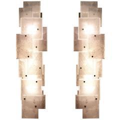 Pair of Modern Luxury Rock Crystal Quartz Sconces