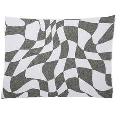 Altered States Grey & White Wavy Checkerboard Recycled Cotton Throw Blanket