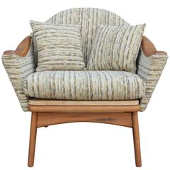 Modern Adrian Pearsall Lounge Chair in Original Tweed Fabric