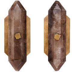 Pair of Diamond Form Smoky Brown Rock Crystal Quartz Sconces