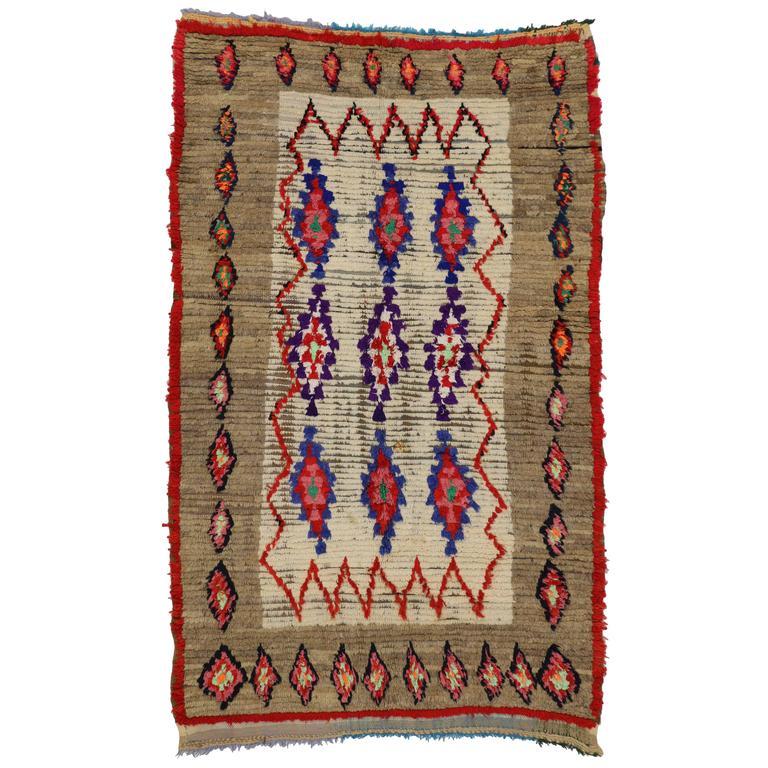 Boho Chic Vintage Berber Moroccan Rug with Tribal Design