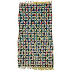 Vintage Berber Moroccan Azilal Rug with Diamond Lozenge Pattern
