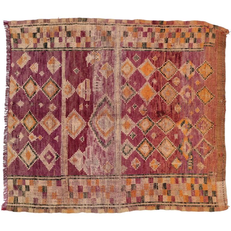 Vintage Berber Moroccan Rug With Tribal Design At 1stdibs