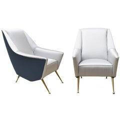 Pair of ISA Brass and Grey and Blue Silky Cotton Upholstery Armchairs, 1950s