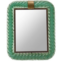 1930s, Venini Carlo Scarpa Table Mirror with Frame in Green Glass
