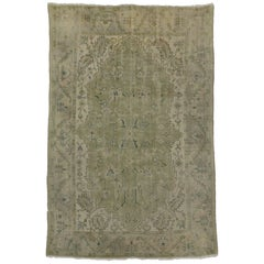 Antique Turkish Oushak Rug with Modern Style in Muted Green Colors