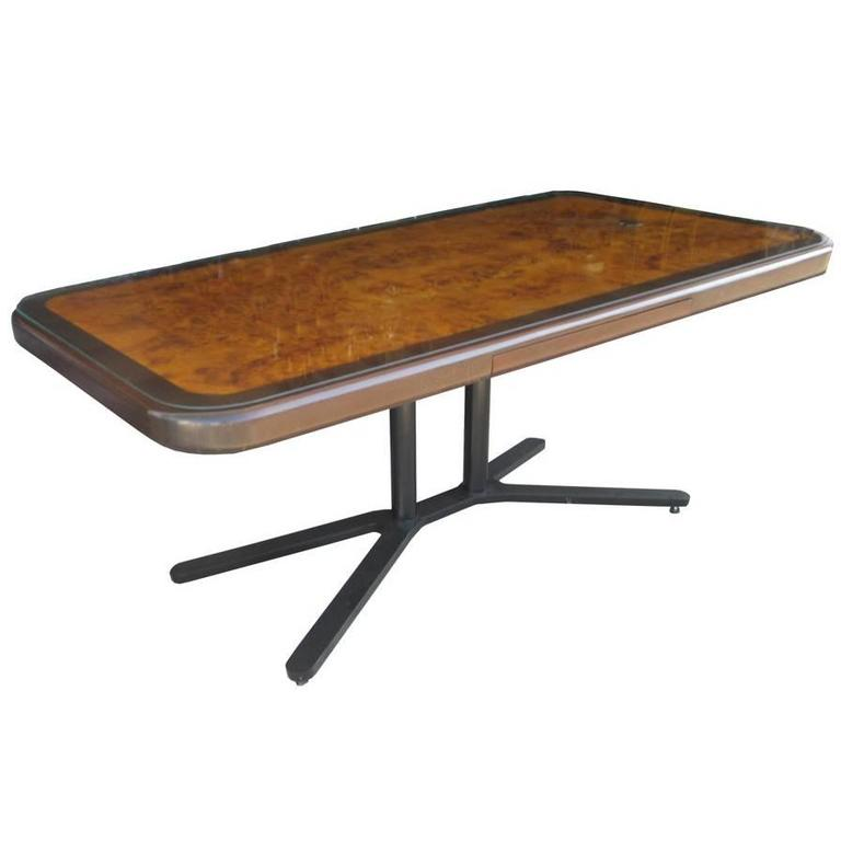 Vintage Burled Top Desk Table On A Bronze Base For