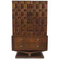 American 1970s Brutalist Style Walnut Wardrobe Cabinet