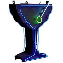 Glowing Neon Martini Sign with Uranium Olive, circa 1940s