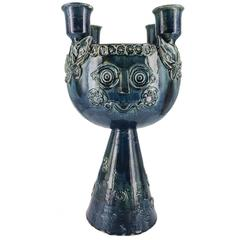 Bjorn Wiinblad Ceramic Centerpiece Candelabra with Hand-Poured Soy Candle