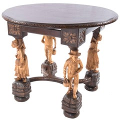 19th Century French Gueridon Table with Carved Figural Legs