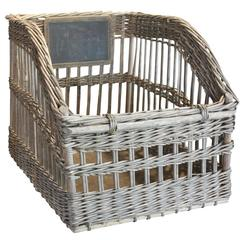 French 19th Century Large Size Wicker Baguette Basket with Chalk Board