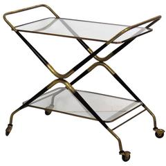 Gio Ponti Style Italian Modern Brass and Glass Bar Cart