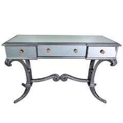 Grosfeld House Style Silver Gilt and Mirrored Vanity with Plumes