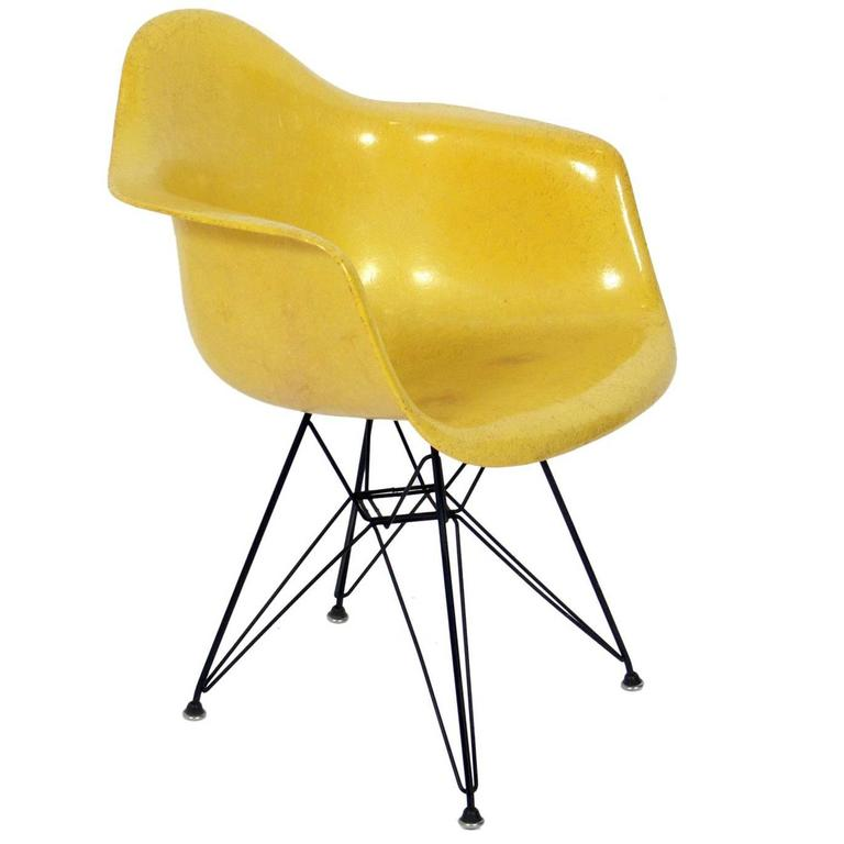 Early Lemon Yellow Molded Fiberglass Armchair by Charles and Ray Eames