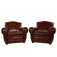 Pair of Art Deco-Style Leather Club Chairs