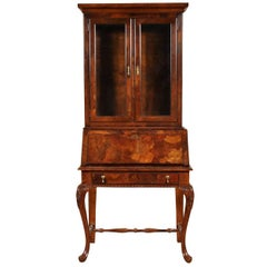 Vintage Burl Wood Secretary Bookcase by American of Martinville