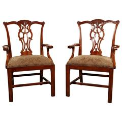 Pair of Theodore Alexander Mahogany Arm Chairs