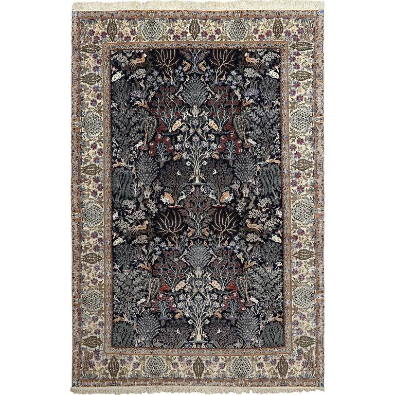 Tree of Life Design Vintage Nain Persian Rug 1