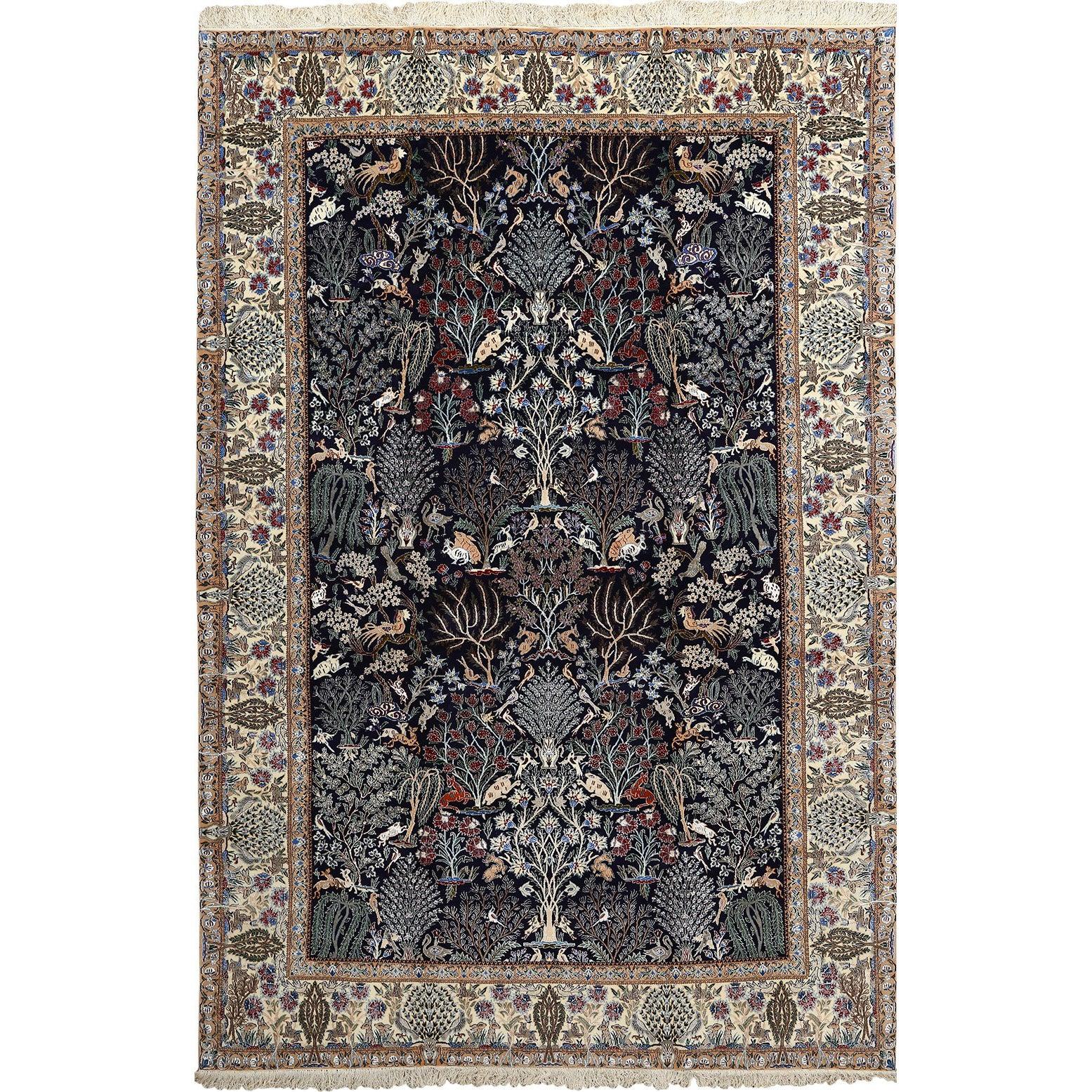 Tree Of Life Design Vintage Nain Persian Rug