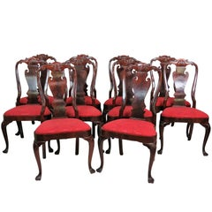 Ten Mahogany Carved Upholstered Dining Chairs