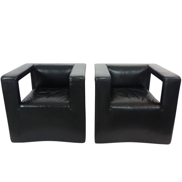 Pair of Back Leather De Sede Lounge Armchairs