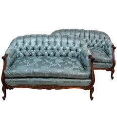 Pair of Louis XVI Style Tufted Settees