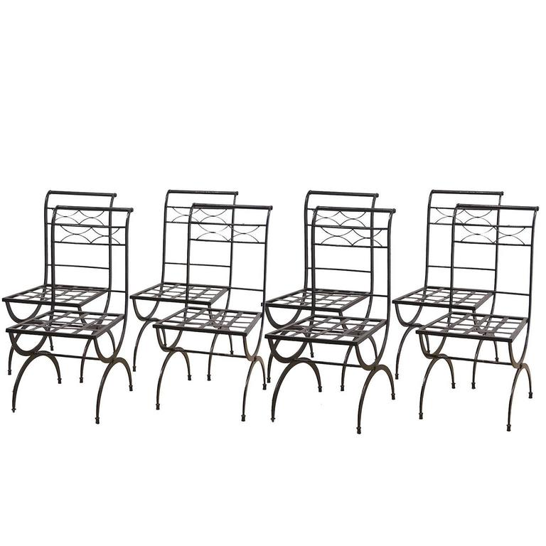 Set of Eight French Wrought Iron Chairs, Empire Style, Early 20th Century For Sale