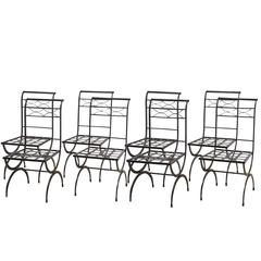 Set of Eight French Wrought Iron Chairs, Empire Style, Early 20th Century