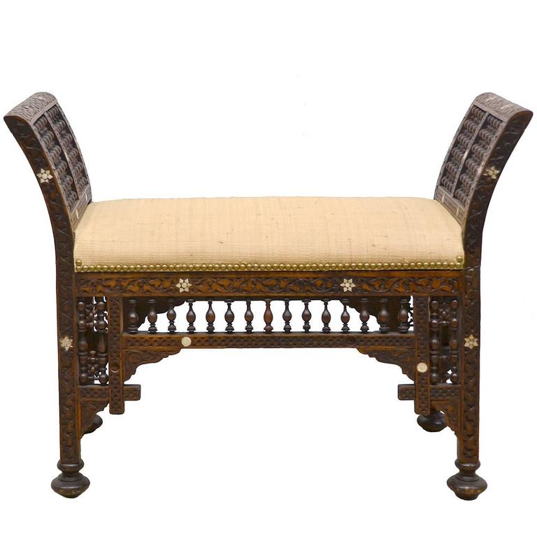 19th Century Moroccan Bench with Mother of Pearl and Bone Inlay 1