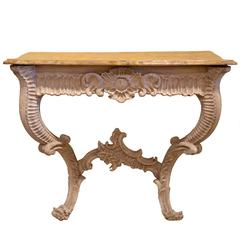 19th Century Italian Carved and Painted Faux Marble Top Console Rococo Style