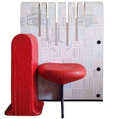 Gaetano Pesce Italian Plastic Chair with Rubber Red Seat and White Printed Back